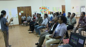 Participants are concentrating very hard during training provided by training facilitators
